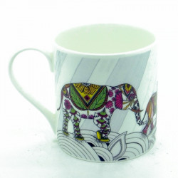 Elephant Family Colour Bone China Mug (ellie)
