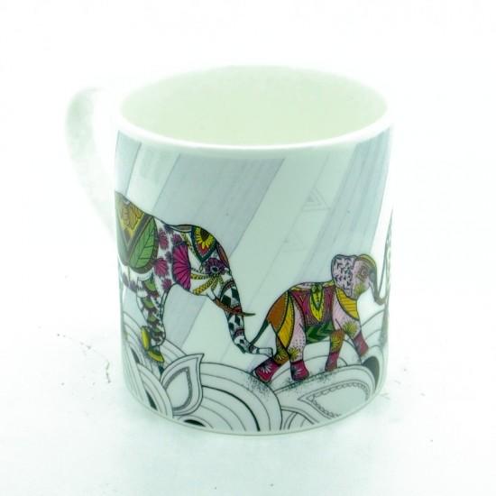 Elephant Family Colour Bone China Mug (ellie)