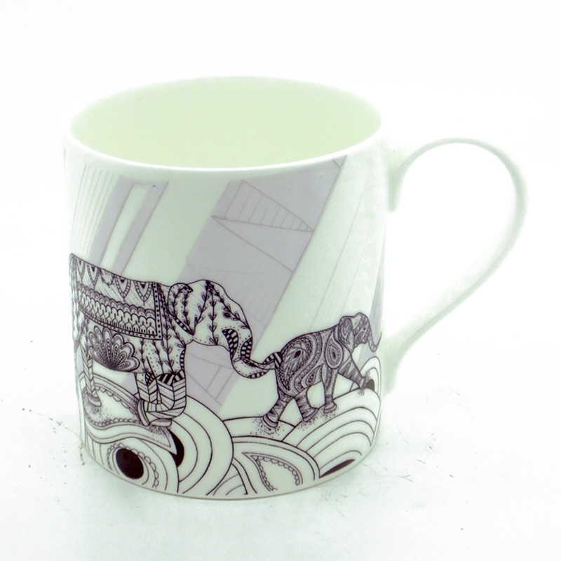 Elephant Family Black & White Bone China Mug (ellie)