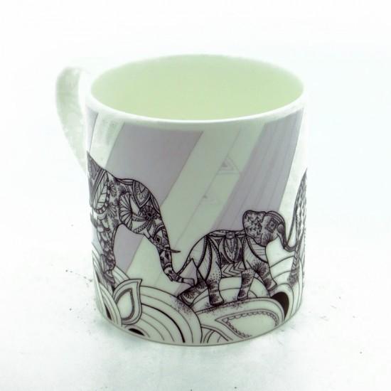 Elephant Family Black & White Bone China Mug (ellie)
