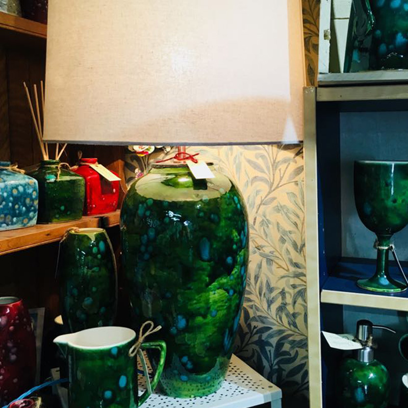 Table Lamp in Lava Green