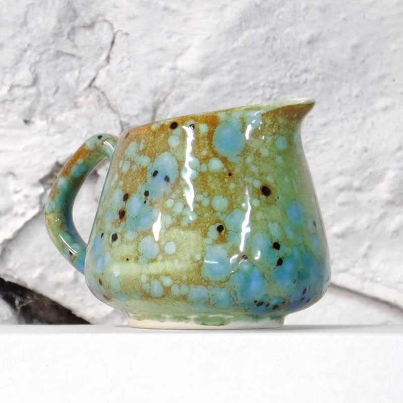 Small / Milk Jug in Green Ripple