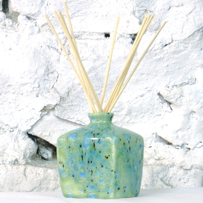 Reed Diffuser - Square Vase in Green Ripple