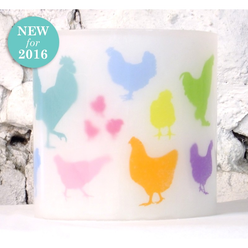 Colourful Chickens Hurricane Candle
