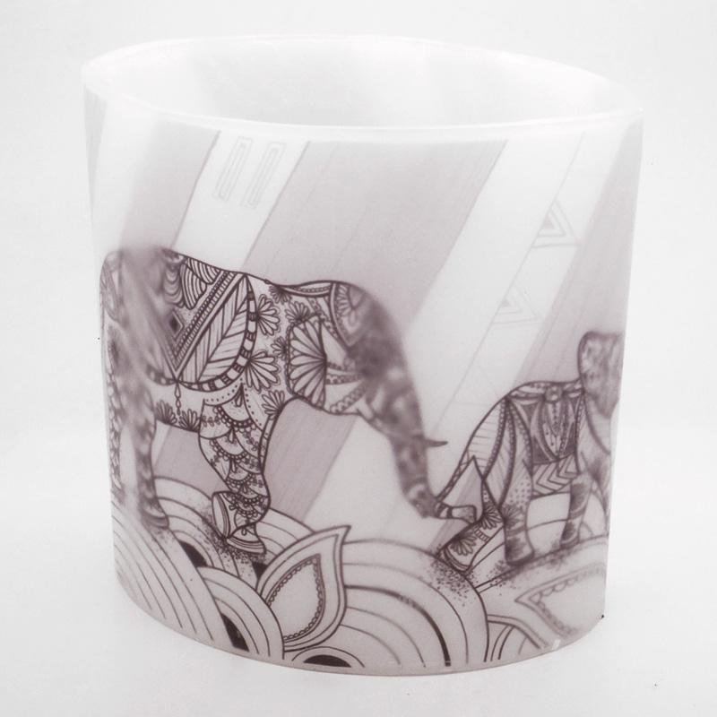 2018 Black & White Elephants Hurricane Candle (ellie)