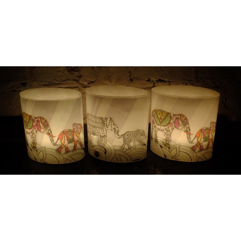 2018 Coloured Elephants Hurricane Candle (ellie)