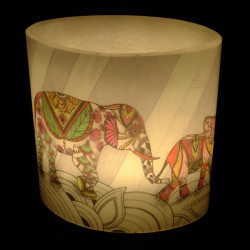 Coloured Elephants Hurricane Candle (ellie)