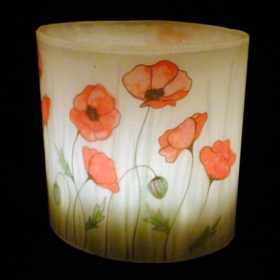 Watercolour Poppy Hurricane Candle