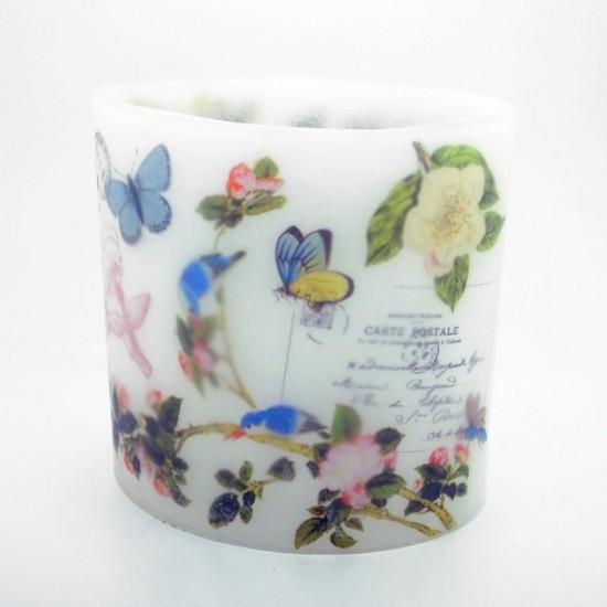 Vintage Birds & Butterflies Hurricane Candle