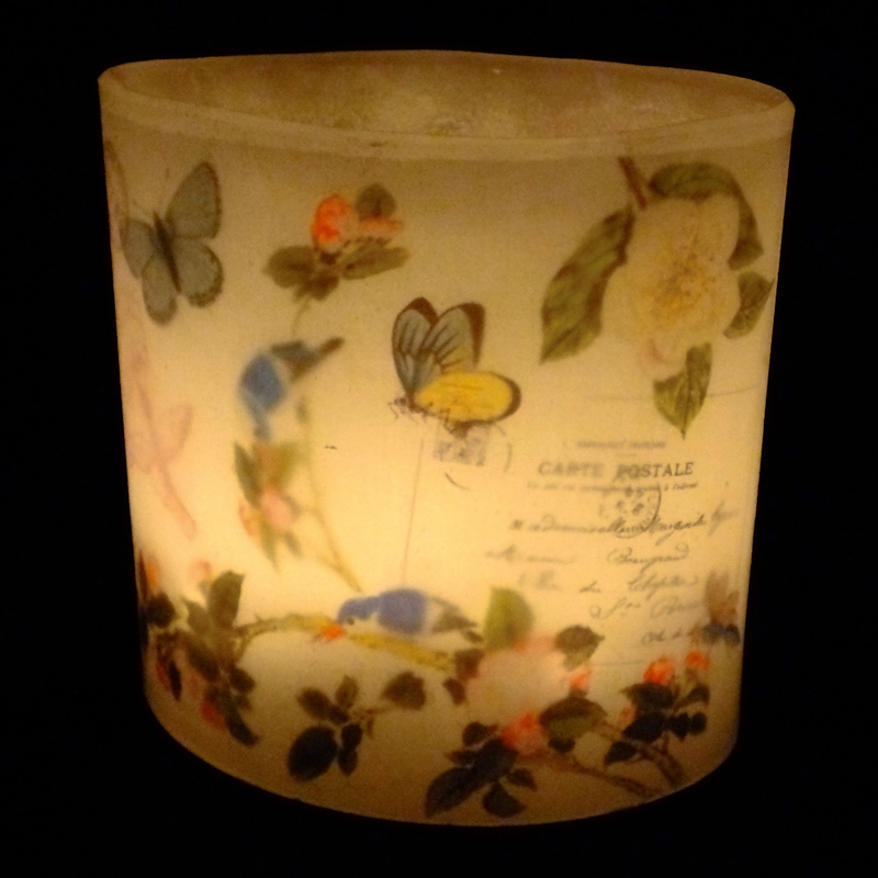 Vintage Birds & Butterflies Hurricane Candle