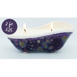 2 for £25 Purple Black Peony Bath Tub candles