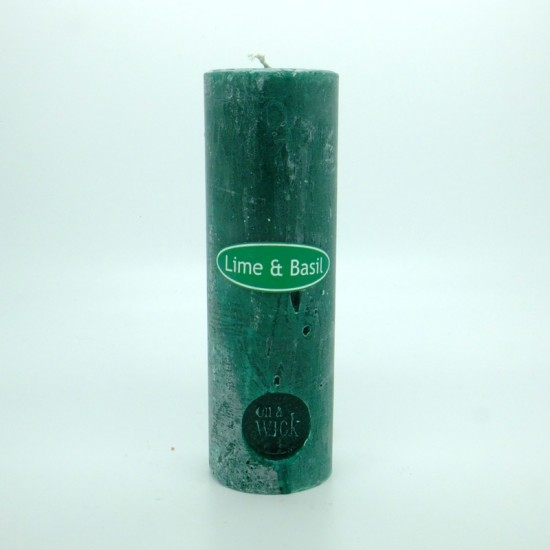 Lime and Basil Round Pillar Candles