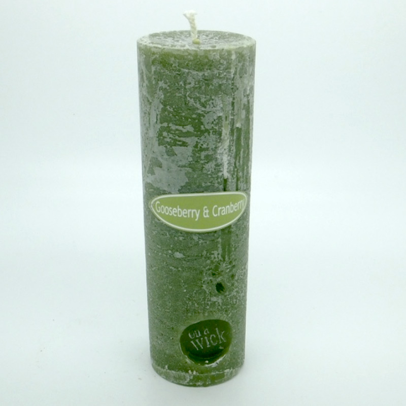 Gooseberry and Cranberry Round Pillar Candles