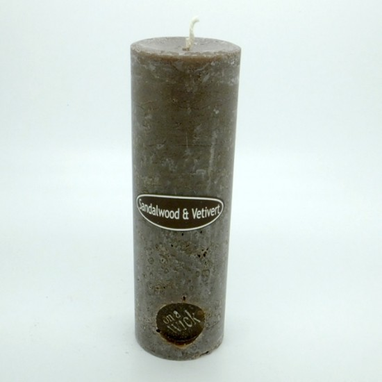 Sandalwood and Vetivert Round Pillar Candles