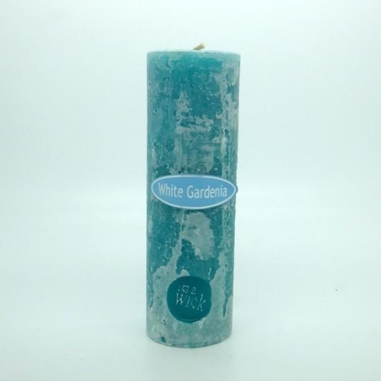 White Gardenia Round Pillar Candles