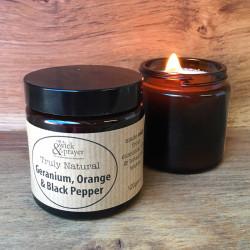 Truly Natural Candle in Geranium, Orange & Black Pepper