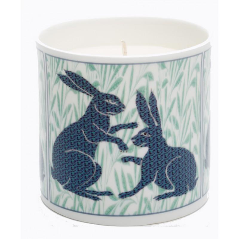 De Morgan mosaic hares candle Blue